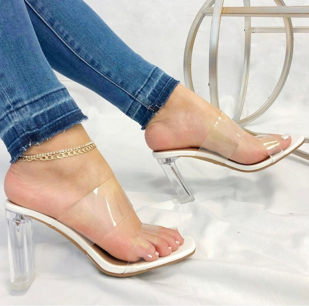 """Venice"" White Clear Heel - Mint Leafe Boutique"