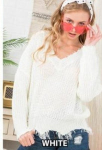 White Distress Sweater - Mint Leafe Boutique
