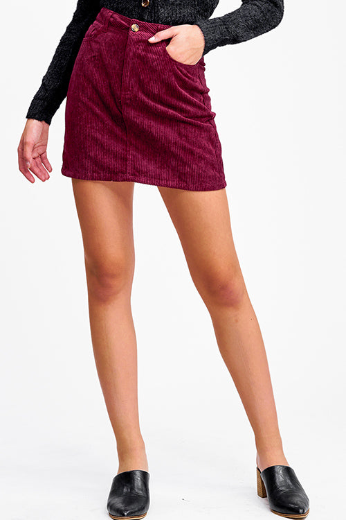 Wine Corduroy Skirt - Mint Leafe Boutique