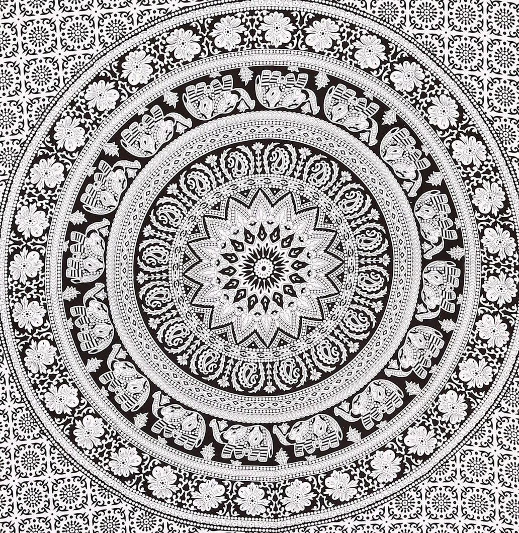 Black And White Elephant Tapestry - Perfect For Dorm Rooms