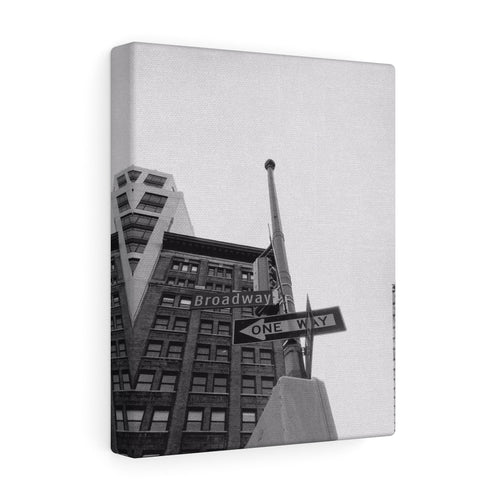 On the Road to Broadway Monochrome Canvas Gallery Wrap