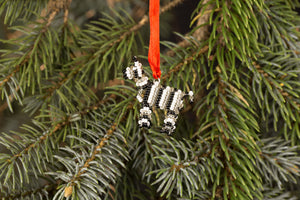 Beaded Zebra Ornament