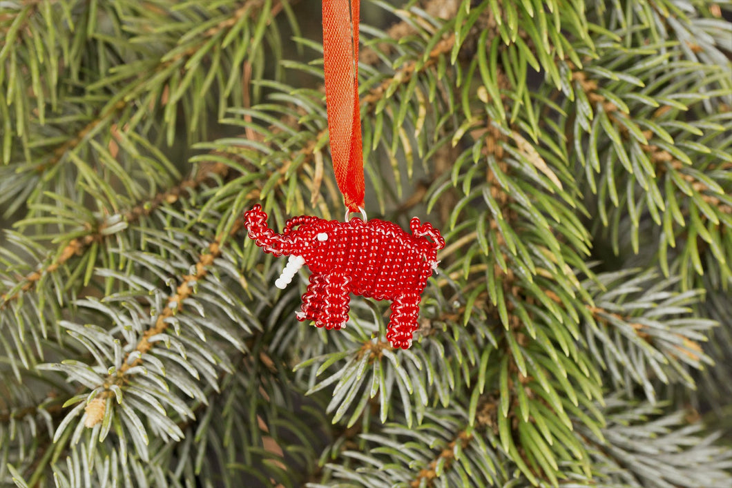 Beaded Elephant Ornament