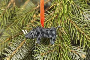 Beaded Rhino Ornament