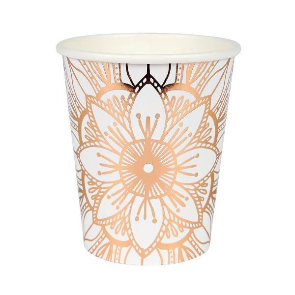 Rose Gold Mandala Paper Cups