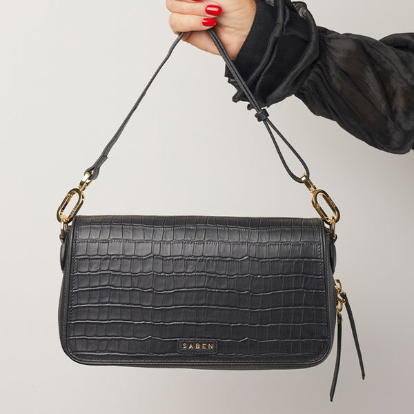 Brooklyn Handbag / Black Croc