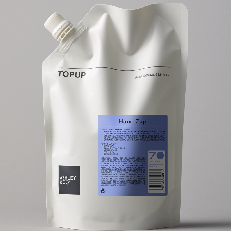 Topup Hand Zap / Gel Sanitiser / Peppy & Lucent