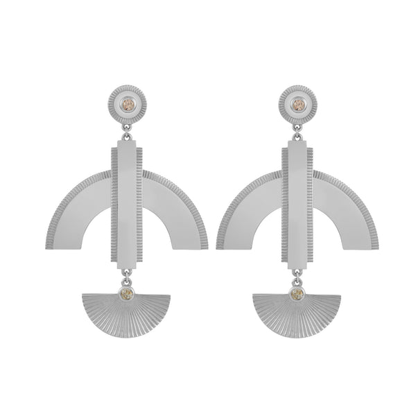 Astrid Earrings / Silver / Brown Zircon