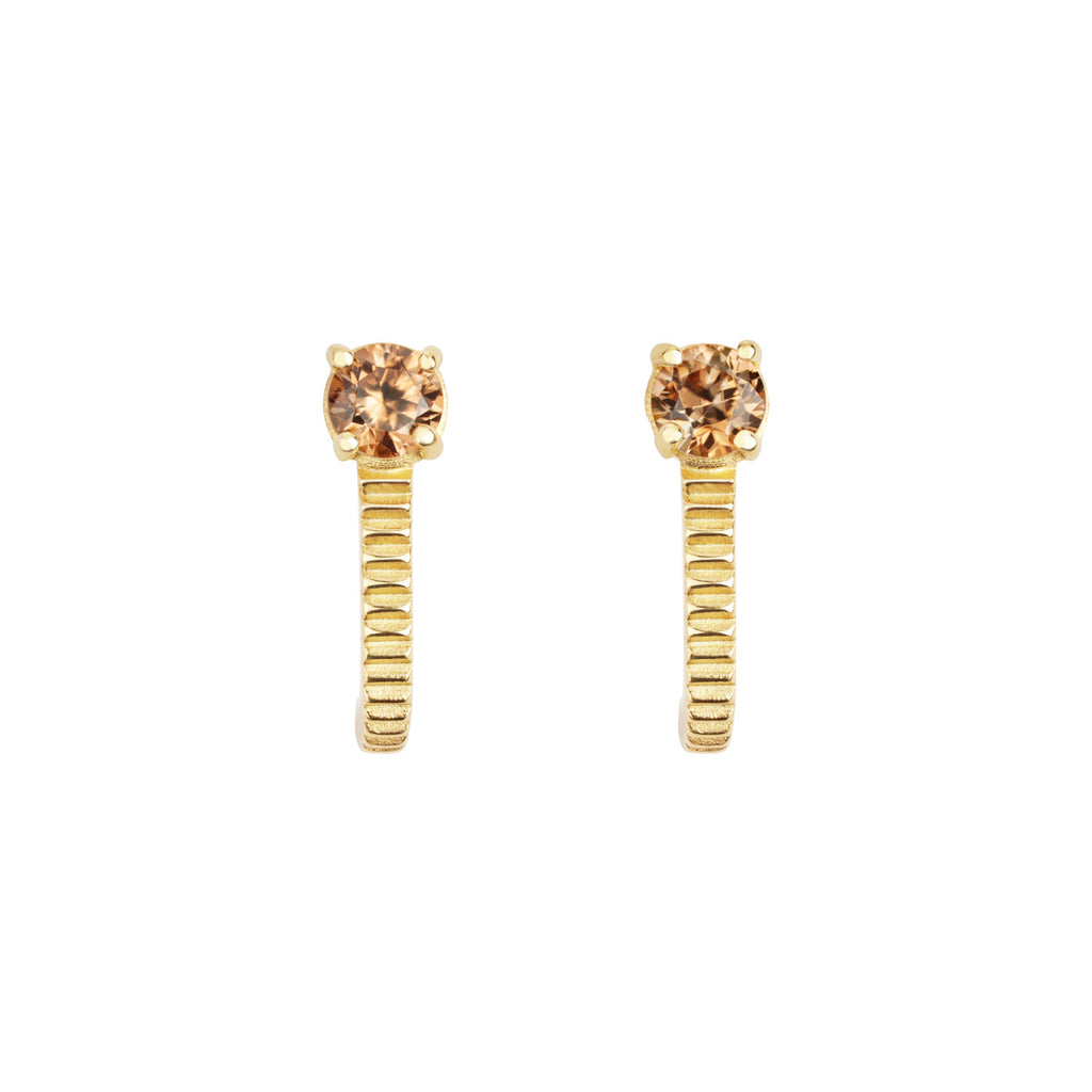 Bianca Earrings / Gold with Brown Zircon