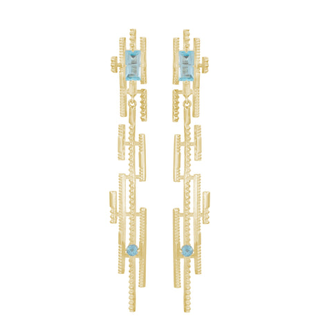 Galaxia Earrings 22K Gold Plate with Blue Topaz