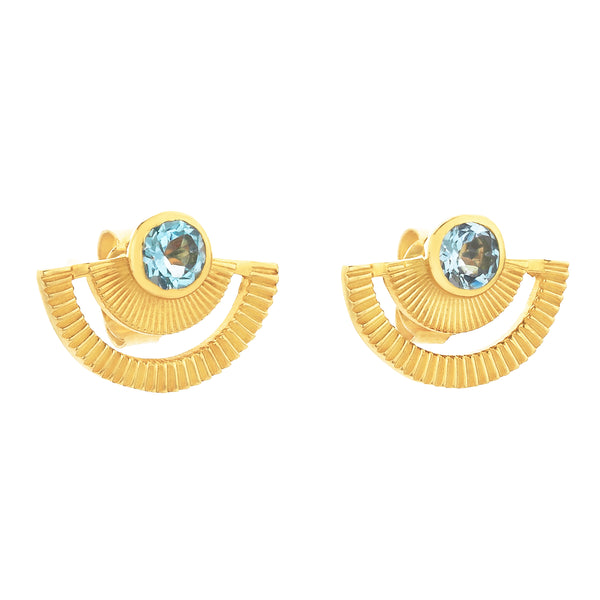 Golden Hour Studs / Gold / Blue Topaz
