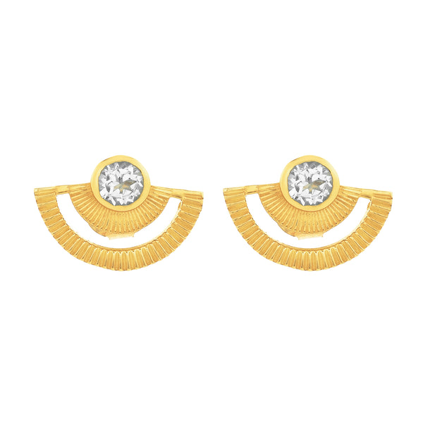 Golden Hour Studs / Gold / White Zircon