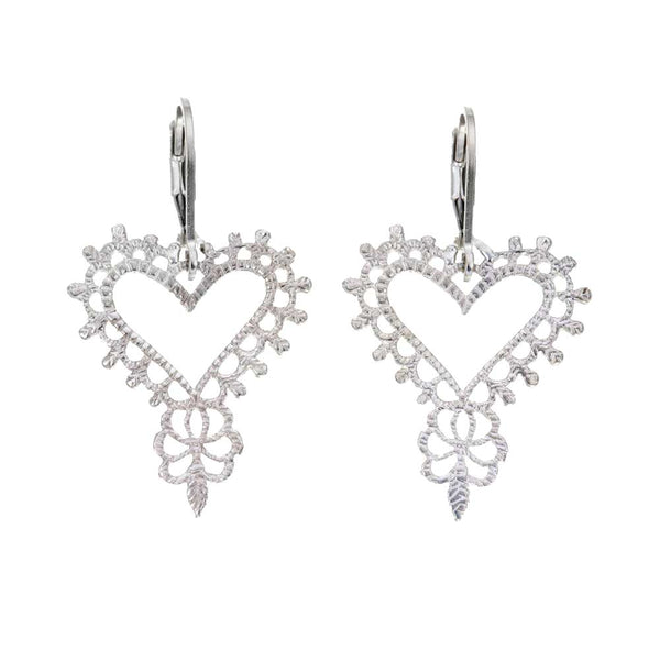Gypsy Heart Earrings in Silver