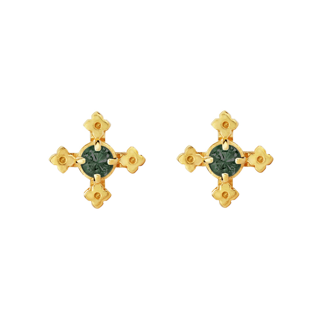 Izil Earrings / Gold with Chrome Diopside