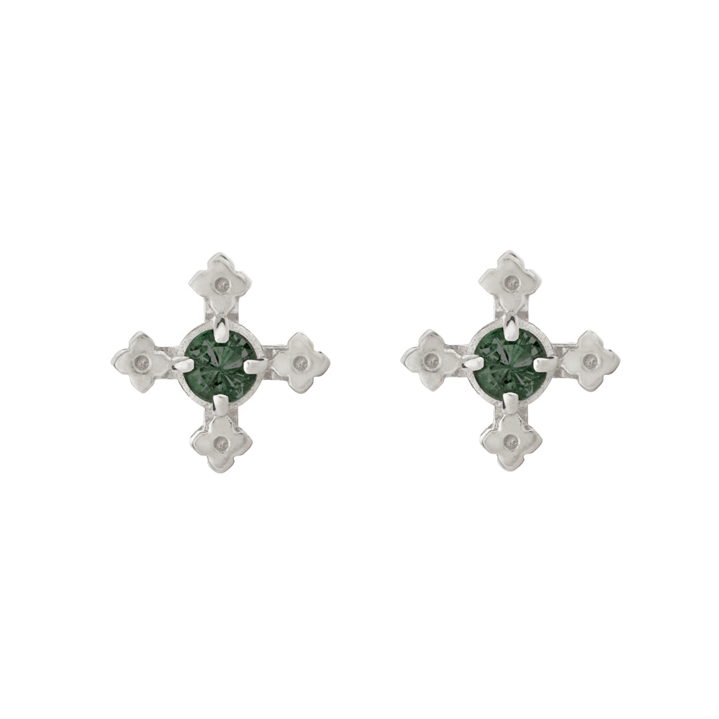 Izil Earrings / Silver with Chrome Diopside