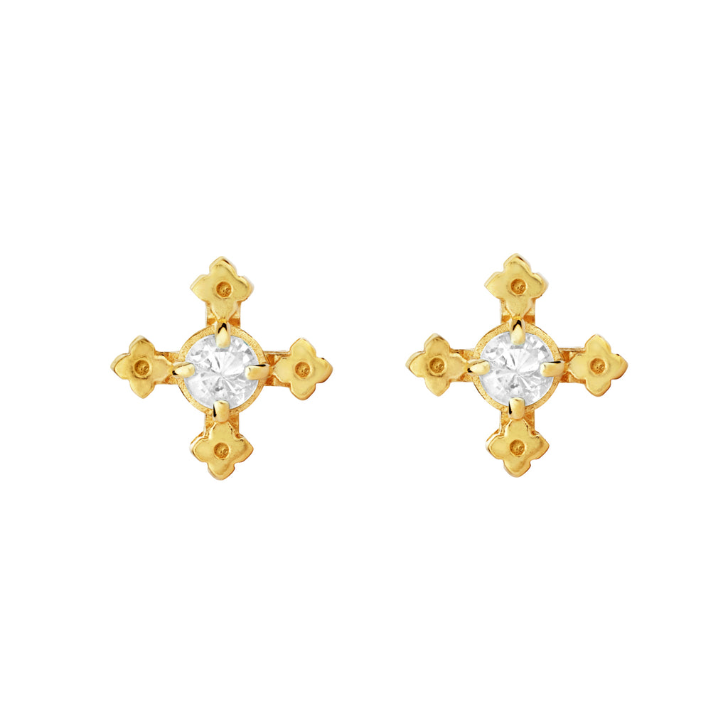 Izil Earrings / Gold with White Zircon