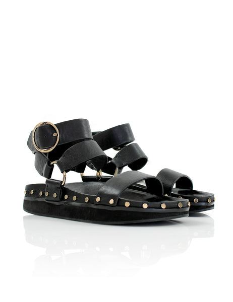 Studded Sandal in Black/gold