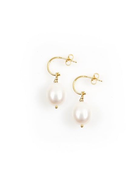 Pearl Hoop Earrings / Large / Gold