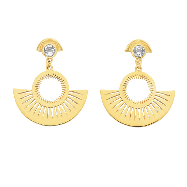 Pocket Full of Sunshine Earring / Gold / White Zircon