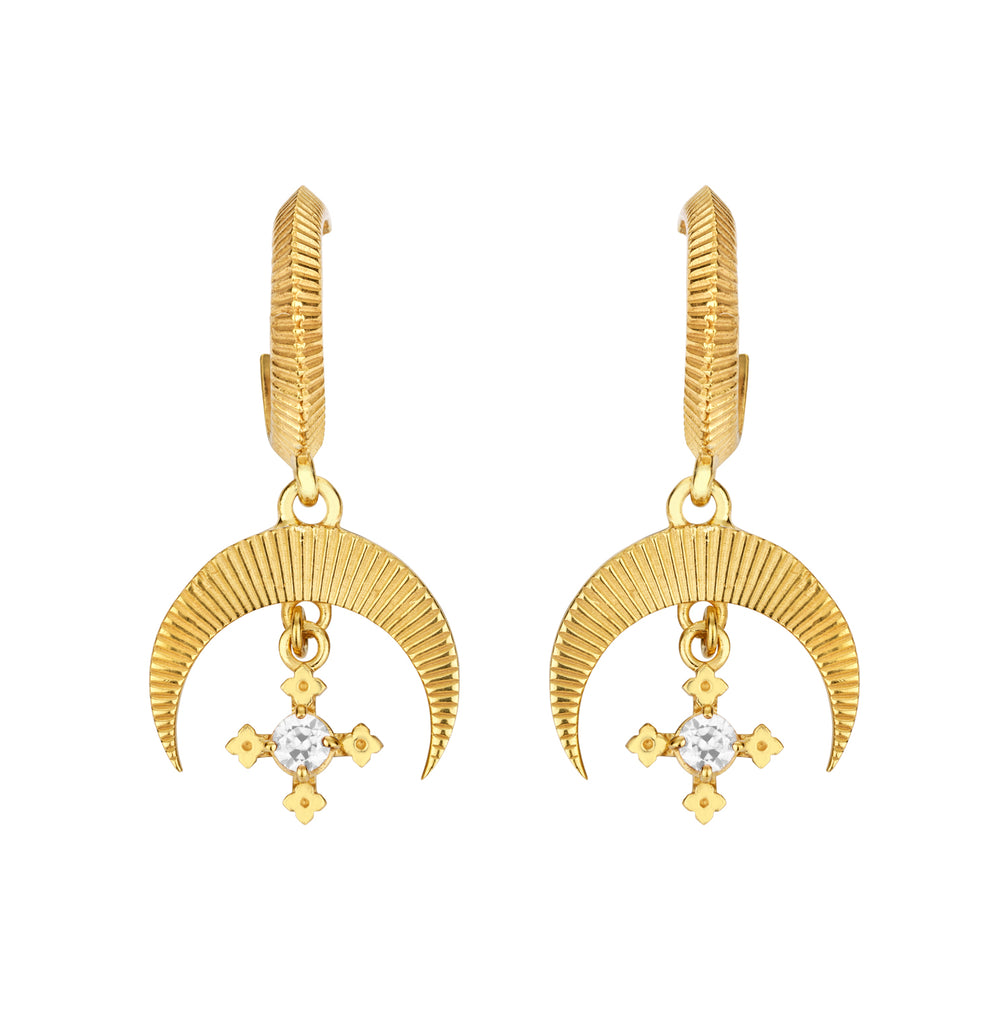 Sacha Earrings / Gold with White Zircon