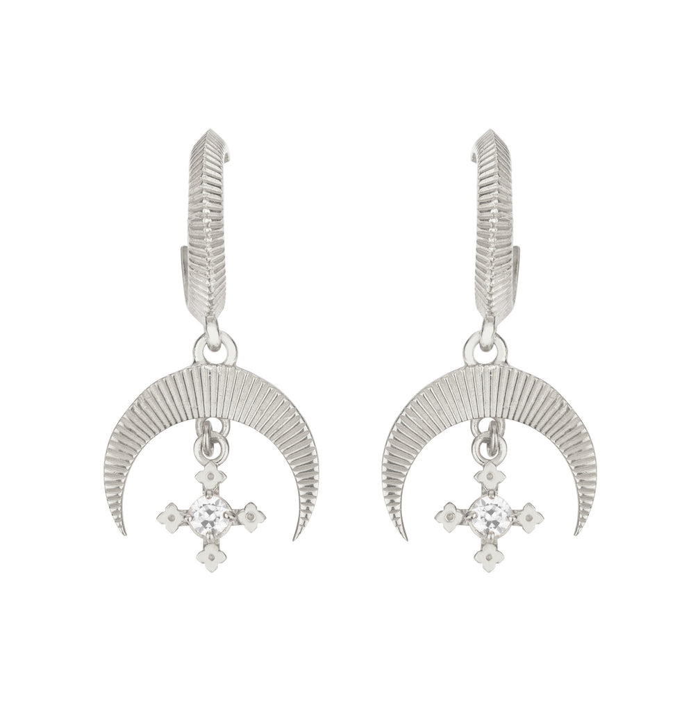 Sacha Earrings / Silver with White Zircon