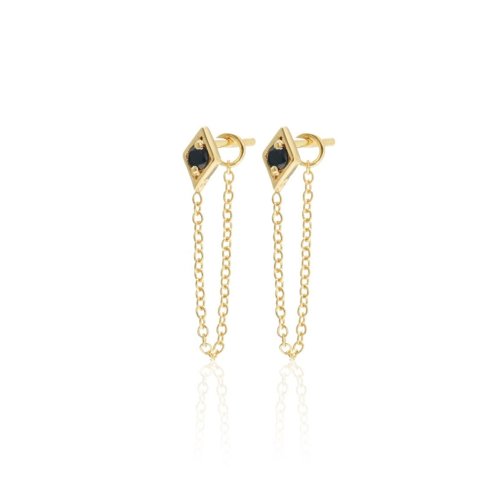 Keepsake Connected Earrings / Black Spinel / Gold