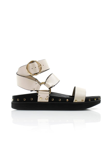 Studded Sandal in Bone