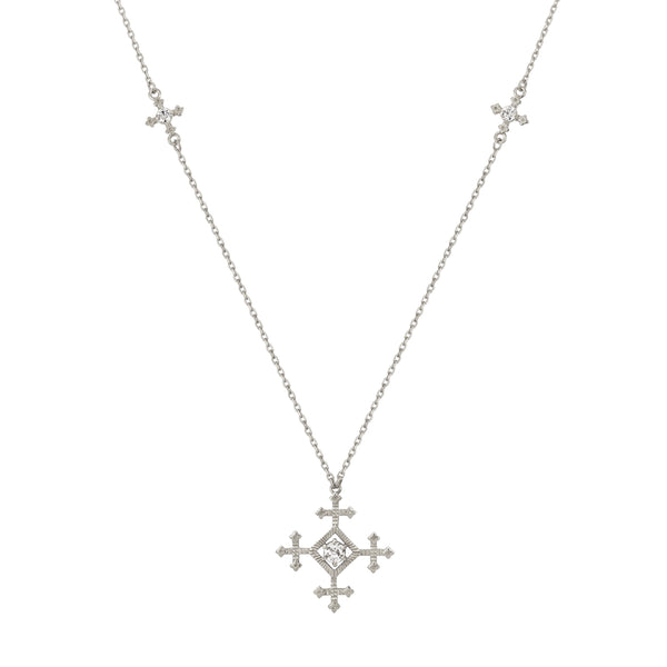 Sura Necklace / Silver with White Zircon