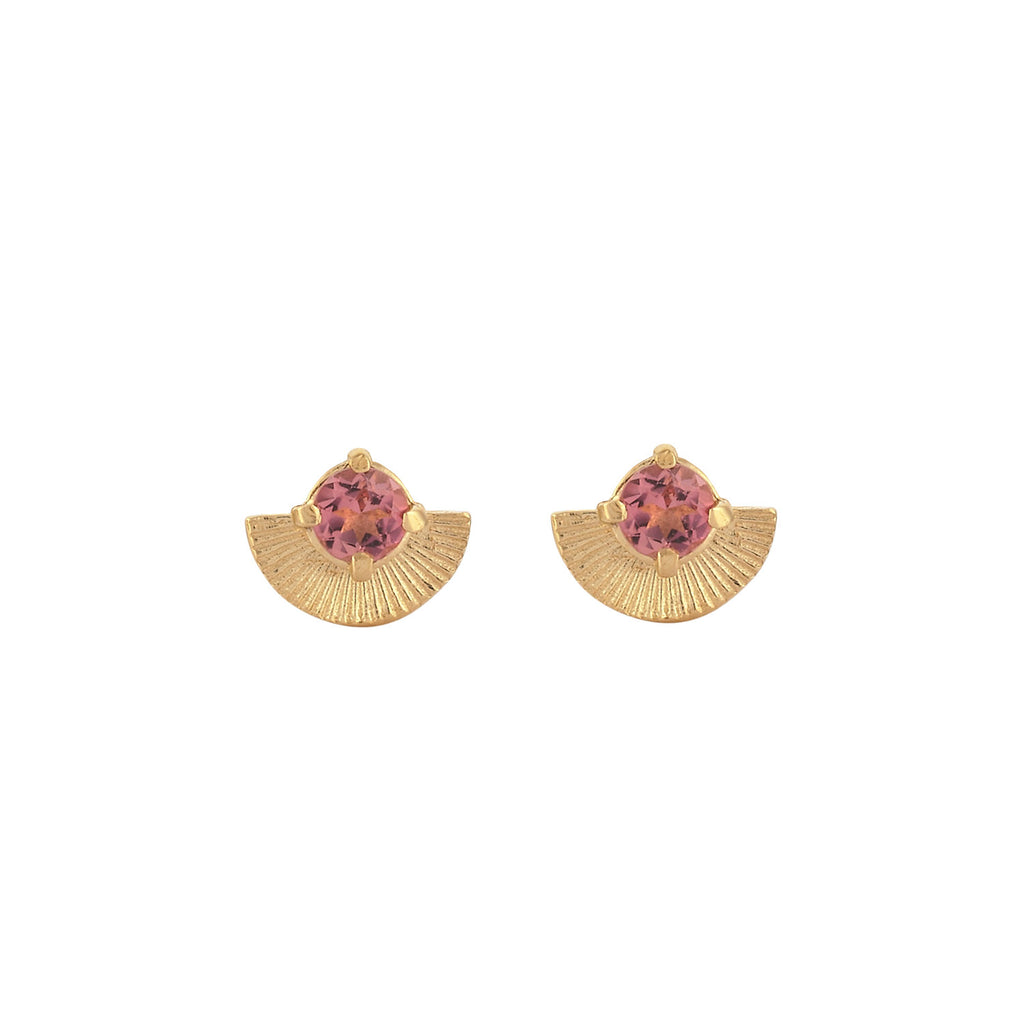 Vega Studs / 22K Gold Plate with Pink Tourmaline
