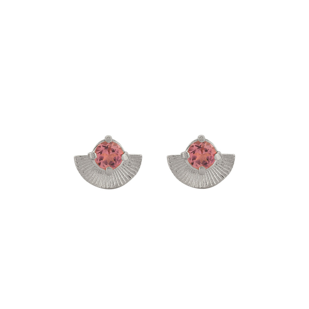 Vega Studs / Sterling Silver with Pink Tourmaline