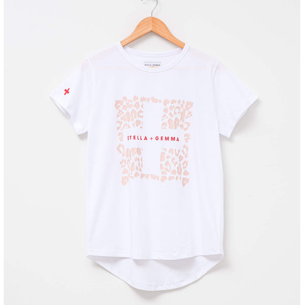 White Tee with Rose Leopard