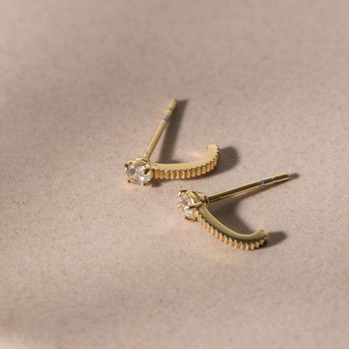Bianca Earrings / Gold with White Zircon