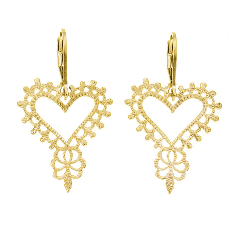 Gypsy Heart Earrings | Gold