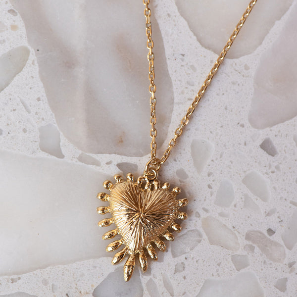 Heart Rays Necklace / 22K Gold Plated