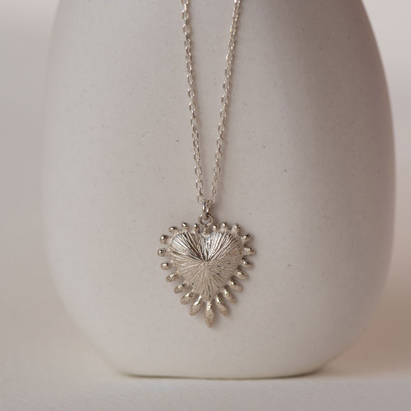 Heart Rays Necklace / Sterling Silver