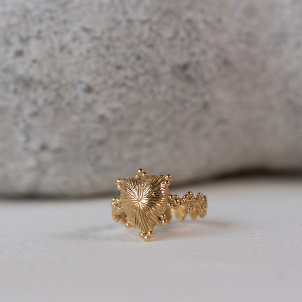 Heart Rays Ring / 22k Gold Plated
