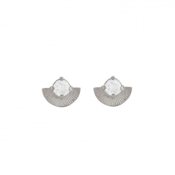 Vega Studs / Sterling Silver with White Zircon