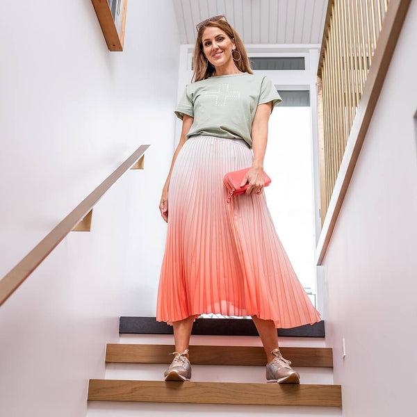 Watermelon & White Ombre Skirt