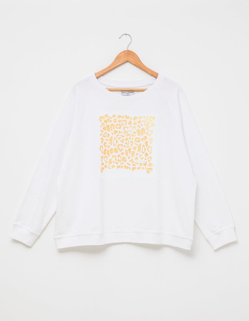 Sweatshirt / White / Gold leopard