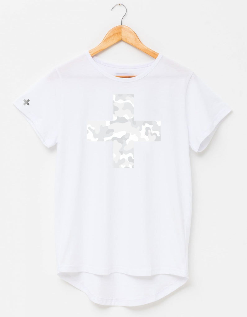 White Tee with Grey Camo Cross