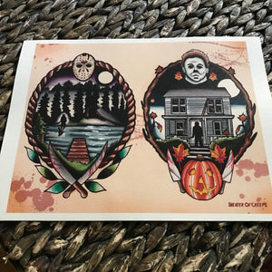 Crystal Lake to Haddonfield Watercolor Print