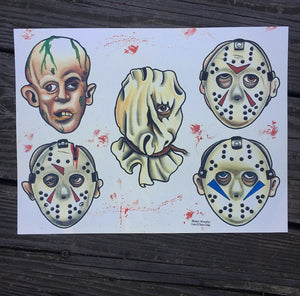 "Faces Of Death Part 1 9""x12"" Watercolor Print"