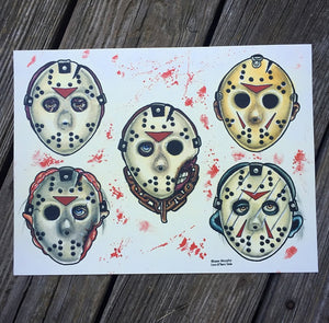 "Faces Of Death Part 2 9""x12"" Watercolor Print"