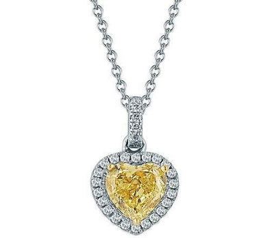 Deposit: 3 Prongs Halo Heart Shaped Yellow Diamond Pendant