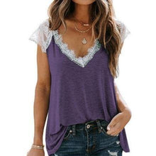 Load image into Gallery viewer, V-Neck Lace T Shirt