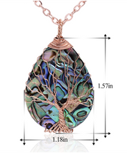 Load image into Gallery viewer, Tree of Life Abalone & Copper Pendant Necklace