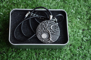 Yin-Yang, Moon & Sun Tree of Life Necklace