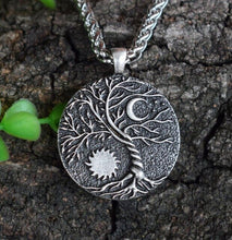 Load image into Gallery viewer, Yin-Yang, Moon & Sun Tree of Life Necklace