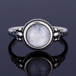 Round Moonstone Silver Ring