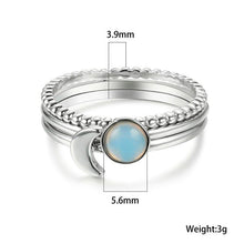Load image into Gallery viewer, Faux Moonstone Stackable Ring Set